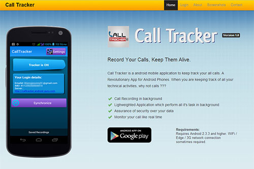 Call Tracker : Website